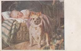 Sleeping Baby & Spitz Dog Old Postcard Signed E.Felix 1919 - Dogs