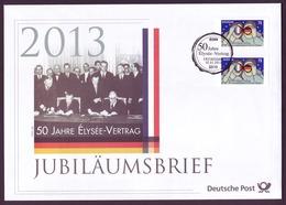 Bund Jubiläumsbrief 2013 Mi.Nr. 2977 ESST 50 Jahre Elysee Vertrag - BRD