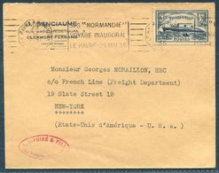 1935 France S/S NORMANDIE Maiden Voyage Le Havre - New York Ship Cover - France