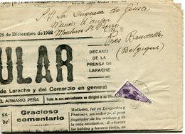 "MAROC ESPAGNOL JOURNAL "" EL POPULAR "" DEPART LARACHE 29 DEC 32 POUR LA BELGIQUE - Spanish Morocco"