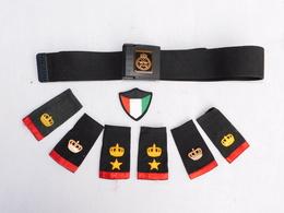 KOWEIT : LOT 3 PAIRES EPAULETTES  + CEINTURON GRANDE TAILLE ETAT NEUF - Uniforms