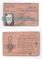 Landange, Saincaize-Meauce, Carte Du Combattant De Camille Stricher, Né 16/12/1917, Délivrée En 1978 - Documents