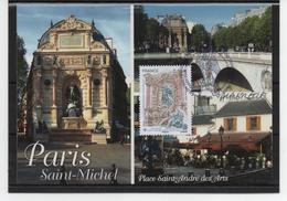 Timbre Du Salon, 0.88€, Carte, Dédicacée, Mr Lavergne, Fontaine St Michel, Salon Philatélique De Printemps 13-15/03/2019 - Cartes-Maximum