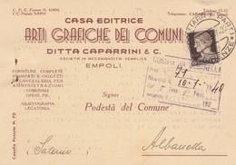 STORIA POSTALE - EMPOLI - CASA EDITRICE ARTI GRAFICHE DEI COMUNI, DITTA CAPARRINI E C. -VIAGGIATA PER ALBANELLA(SALERNO) - 1900-44 Vittorio Emanuele III