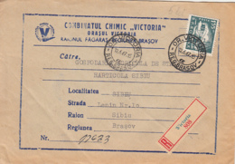 SHIP STAMP, REGISTERED VICTORIA 808, VICTORIA CHEMICAL PLANT HEADER COVER, 1967, ROMANIA - 1948-.... Républiques