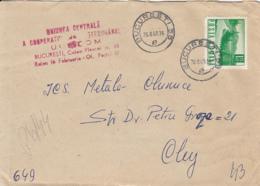 ROAD, RIVER, STAMP ON REGISTERED  COVER, 1968, ROMANIA - 1948-.... Républiques