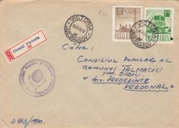RADIO TOWER, TRAIN, LOCOMOTIVE, STAMP ON REGISTERED VICTORIA 30 COVER, 1970, ROMANIA - 1948-.... Républiques