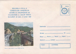 ARCHITECTURE, BRIDGES, IRON GATED RAILWAY AND ROAD BRIDGES, COVER STATIONERY, ENTIER POSTAL, 1989, ROMANIA - Ponts
