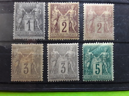 France, Type SAGE, 6 Timbres Neufs * MH Avec Nuances , Yvert No 75 ,83, 85, 85 A, 87, 87 A, TB Cote 100 Euros - 1876-1898 Sage (Type II)