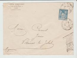 """PARIS: """" PARIS DEPART Omec Drapeau RF / Sage / LSC De 1900 Pour Villaines  B/TB:: - 1877-1920: Période Semi Moderne"""