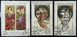 1969 TCHECOSLOVAQUIE Yt 1731, 1733, 1734 . Art Alphonse Mucha - Oblitérés