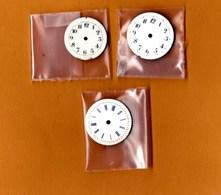 Cadrans  Montre Ancienne émaillés Pointes Or (2 Cm, 2,5 Cm, 2,5 Cm Diam.) Lot De 3 BE - Bijoux & Horlogerie
