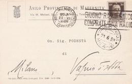 STORIA POSTALE - MILANO - ASILO PROVINCIALE DI MATERNITA' -VIAGGIATA PER VAPRIO D'ADDA( MILANO) - 1900-44 Vittorio Emanuele III