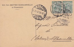 STORIA POSTALE - SALERNO - AVV. CAV. MATTEO QUAGLIARIELLO - VIAGGIATA PER ALBANELLA(SALERNO) - 1900-44 Vittorio Emanuele III