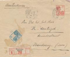 Nederlands Indië - 1930 - 20 & 12,5 Cent Wilhelmina Met Scheepje Op R-cover Van LB PEMATANG-SIANTAR Naar Bandoeng - Nederlands-Indië