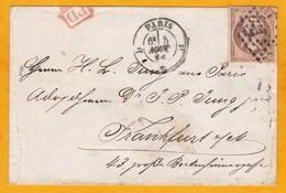 1853 - Lettre  De Paris, France Vers  Frankfurt, Allemagne - YT 16 Empire Français 40 Centimes - PD - Cad Arrivée - 1853-1860 Napoléon III