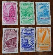 #580# CABO JUBY EDIFIL BENEFICENCIA 1/6 MNH**. SOME LITTLE TONED SPOTS, ALGUNA LEVE SOMBRA DEL TIEMPO. ZEPPELIN, TRAIN. - Cabo Juby