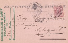 STORIA POSTALE -  ZIMELLA - MUNICIPIO DI ZIMELLA ( VERONA ) - VIAGGIATA PER COLOGNA VENETA(VR) - 1900-44 Vittorio Emanuele III