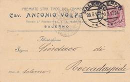 STORIA POSTALE - SALERNO - CAV. ANTONIO VOLPE, PREMIATO STAB. TIPOG. DEL COMMERCIO -VIAGGIATA PER ROCCADAPIDE ( SALERNO) - 1900-44 Vittorio Emanuele III