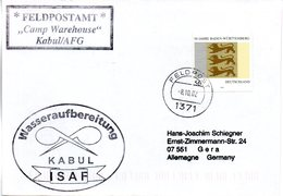 "(BWFP2)CACHET-Umschlag NATO BW""Wasseraufbereitung KABUL ISAF Feldpostamt Camp Warehouse Kabul/AFG"" 8.10.02 FELDPOST 1371 - BRD"