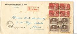 Belle Enveloppe Recommandé HANOI TONKIN Timbres Surchargés - Indochina (1889-1945)