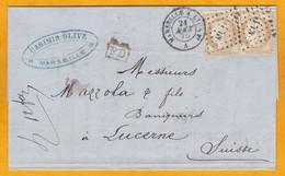 1875  - LAC De Marseille, France Vers Lucerne, Suisse Via Lyon Et Genève - YT 55 X 2 - Convoyeur Marseille à Lyon - 1871-1875 Cérès