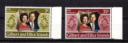 GILBERT  AND  ELLICE  ISLANDS    1972    Royal  Silver  Wedding    Set  Of  2    MNH - Îles Gilbert Et Ellice (...-1979)
