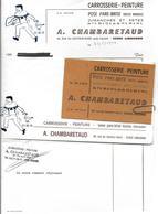 Vieux Papiers-Facture & Documents Commerciaux A.CHAMBARETAUD 33500 LIBOURNE- Facture + Carte De Visite + Enveloppe - Automobile