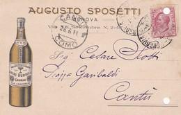 STORIA POSTALE - GENOVA - AUGUSTO SPOSETTI - VIAGGIATA PER CANTU' ( COMO) - 1900-44 Vittorio Emanuele III