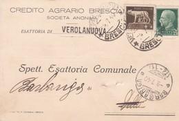 STORIA POSTALE - VEROLANUOVA (BS) CREDITO AGRARIO - ESATTORIA - VIAGGIATA PER BARGARIGA ( BRESCIA) - 1900-44 Vittorio Emanuele III