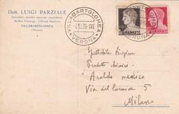 STORIA POSTALE - VILLABARTOLOMEA ( VERONA) DOTT. LUIGI PARZIALE - VIAGGIATA PER MILANO - 1900-44 Vittorio Emanuele III