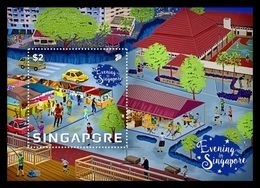 Singapore 2018 Mih. 2540 (Bl.243) Evening In Singapore. Dinner. Fitness. Fishing. Sport. Cafe. Cars MNH ** - Singapur (1959-...)