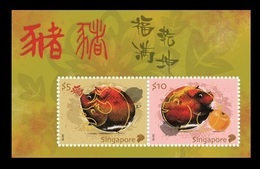 Singapore 2019 Mih. 2589/90 (Bl.246) Chinese Horoscope. Year Of The Pig MNH ** - Singapour (1959-...)