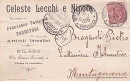 STORIA POSTALE - MILANO - CELESTE LECCHI E NIPOTE - ARTICOLI IDRAULICI  - VIAGGIATA PER MONTAGNANA ( PADOVA) - 1900-44 Vittorio Emanuele III