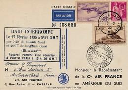 I92 - 17 Février 1935 - Carte Par Avion Spécial 1er Vol Postal Sans Escale France-Amérique Du Sud - Postmark Collection (Covers)