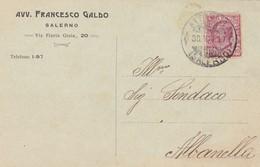 STORIA POSTALE - SALERNO - AVV. FRANCESCO GALDO - VIAGGIATA PER ALBANELLA ( SALERNO) - 1900-44 Vittorio Emanuele III