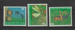 Cote D'Ivoire 1979 Insectes Yvert 508C-508E 3 Val Neuf ** MNH - Côte D'Ivoire (1960-...)