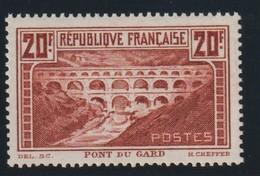 YT 262A ** 20F Pont Du Gard Type I, Chaudron, Excellent Centrage, SUP - France
