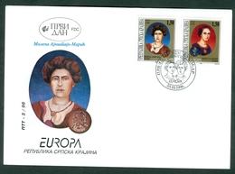Croatia 1996 FDC RSK Serbian Krajina Europa Michel 59-60 Mileva Einstein Maric Miniatue Label - Croacia