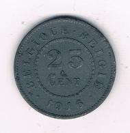 25 CENTIMES  1916   BELGIE /2383/ - 05. 25 Centimes