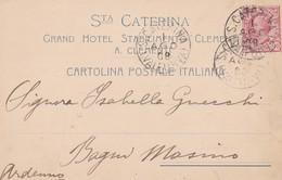 STORIA POSTALE - STA CATERINA ( SONDRIO ) GRAND HOTEL STABILIMENTO CLEMENTINA - VIAGGIATA PER BAGNI MASINO ( SONDRIO) - 1900-44 Vittorio Emanuele III