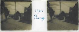 Plaque De Verre Stéréoscopique Positive - Année 1944 - Piscop - Une Rue De La Commune - Plaques De Verre
