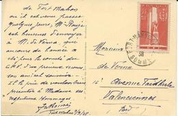 CARTE POSTALE 1938 AVEC TIMBRE A SURTAXE 55 + 45 CT A LA GLOIRE DU SERVICE DE SANTE - Poststempel (Briefe)