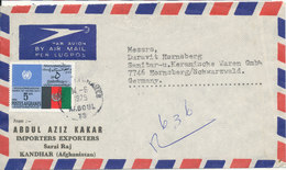 Afghanistan Registered Air Mail Cover Sent To Germany Kaboul 14-6-1975 With A Lot Of Stramps Also On The Backside Of The - Afghanistan