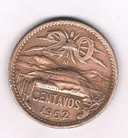 20 CENTAVOS  1952 MEXICO /2391/ - Mexique