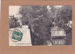 CPA 51, Chalons-sur-Marne, Quai De Nau, Les Bains, Bateau Péniche, Hydrotherapie, Bains Chaud, Douche, 1913 - Châlons-sur-Marne
