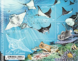 Wallis And Futuna, Fish, Rays, 2017, MNH VF Superb Souvenir Sheet Of 4 - Unused Stamps