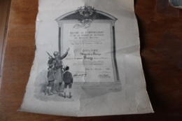 Diplome   Medailles Militaire Belle Illustration Par George  SCOTT 1919 - Diploma & School Reports