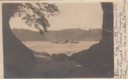 Gardiner Oregon, River Steamer 'Eva' And 'Elmort'(?) On Umpqua River From South Beach C1900s Vintage Real Photo Postcard - Andere