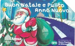 SCHEDA TELEFONICA  AMSA BUON NATALE  SCADENZA 31/12/1999 USATA - Italia